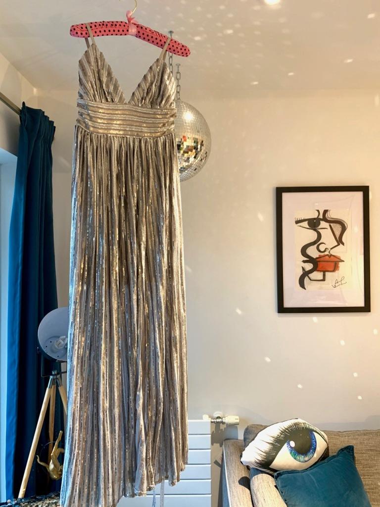 Goddiva silver dress