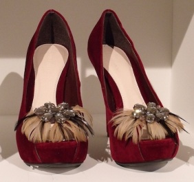 'Mushnick' Feather Trim Velvet Shoe, £47