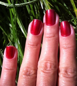 red metallic nails