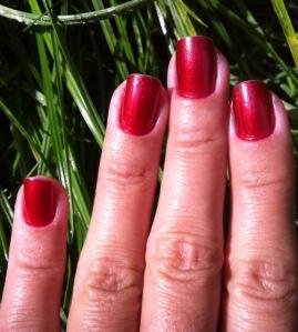 red metallic nails