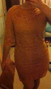 Primark mustard lace dress