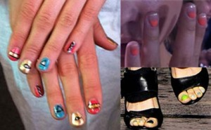 Topshop unique, House of Holland and Vivienne Westwood nails