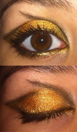 black and gold eye make up look
