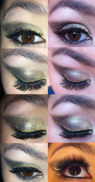 Festive gold eye make-up