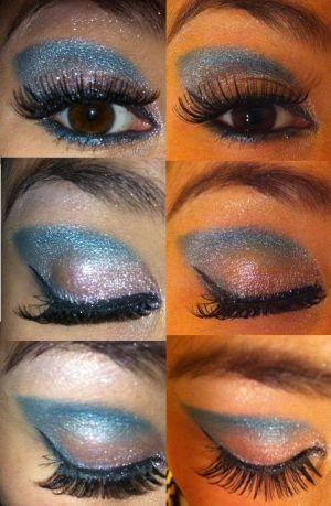 light pink and teal eye make-up