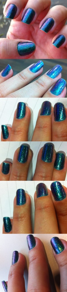 purple and green glitter nails