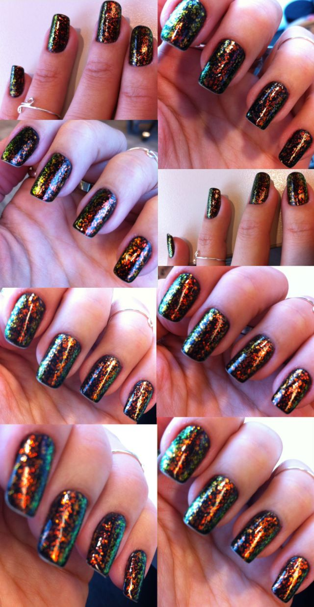 colour shifting glitter flakes nails - somanylovelythings
