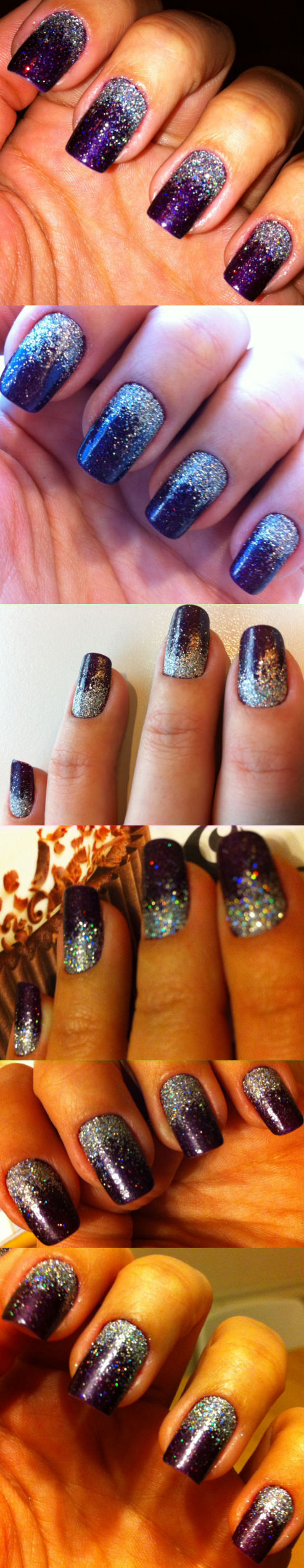 purple nails with silver holographic glitter