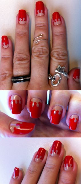 red and nude nails - somanylovelythings