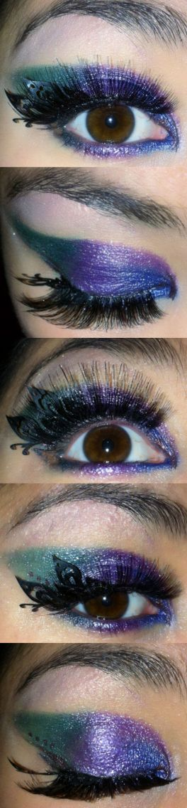 blue, purple and green eye make - somanylovelythings