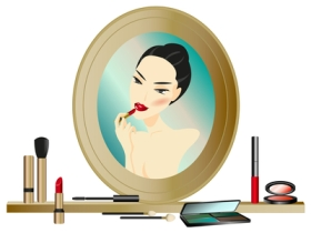 Illustration - woman applying lipstick