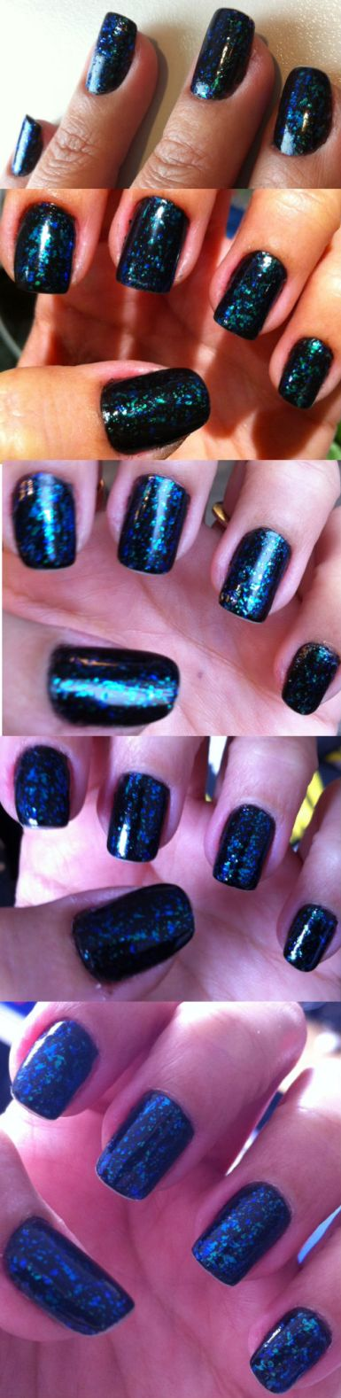 Blue and green glitter flakes nails - somanylovelythings