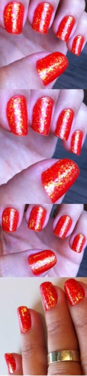 Orange glitter flakes nails - somanylovelythings