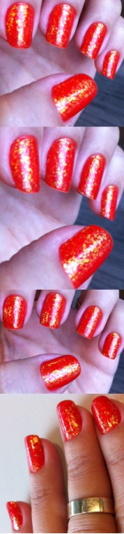 Orange glitter flakes nails - somanylovelythings