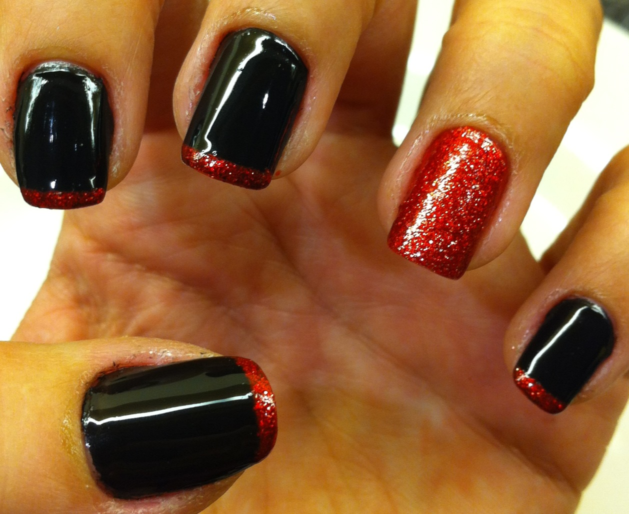 nails of the week � black with red glitter french manicure