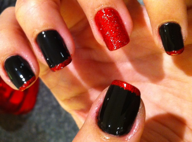 Red And Black Tip Nails