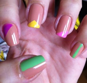 nude nails with colourful geometrical shapes