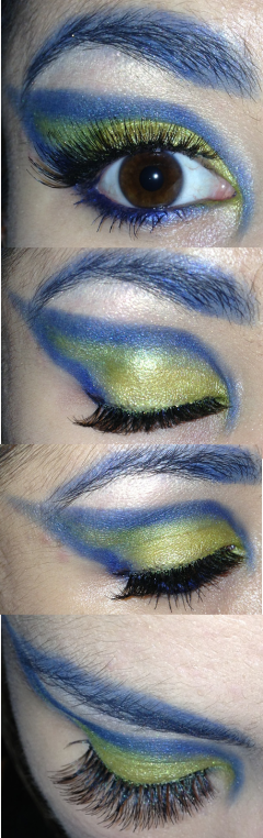 blue and yellow eye make-up - somanylovelythings