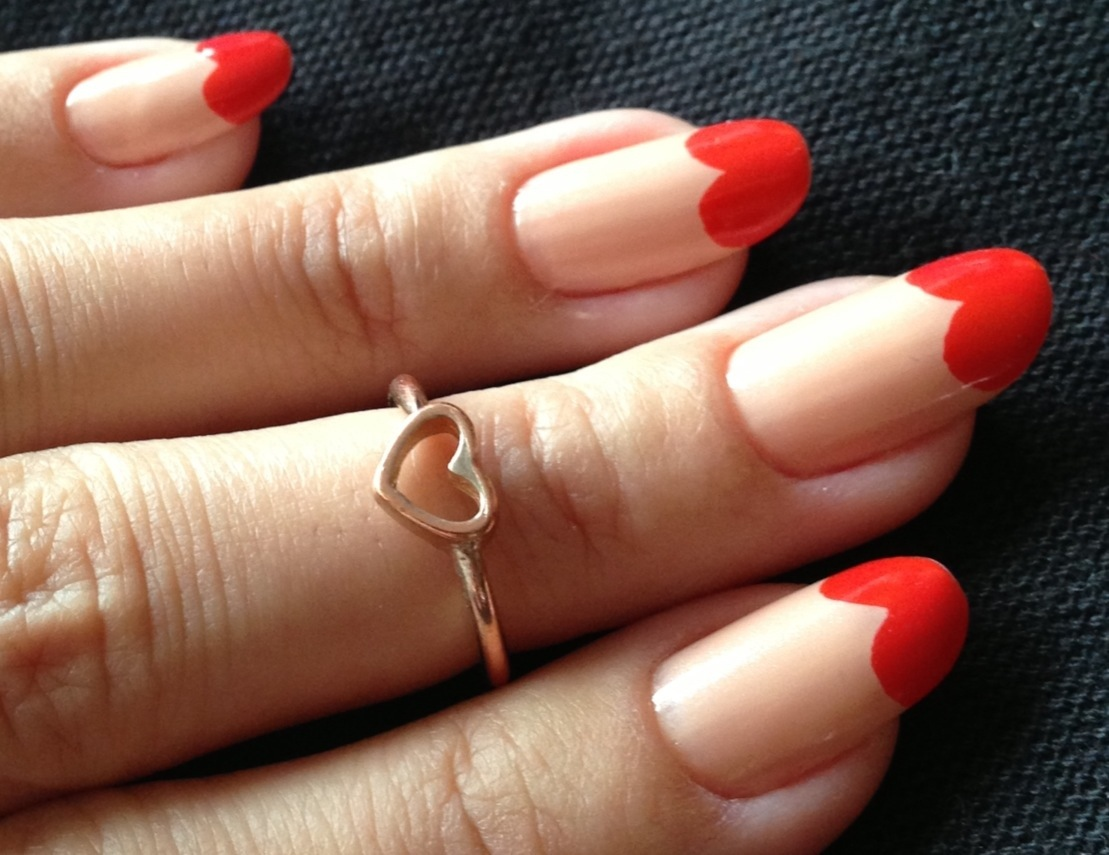 Vintage Nude and Red Heart Nail Tips
