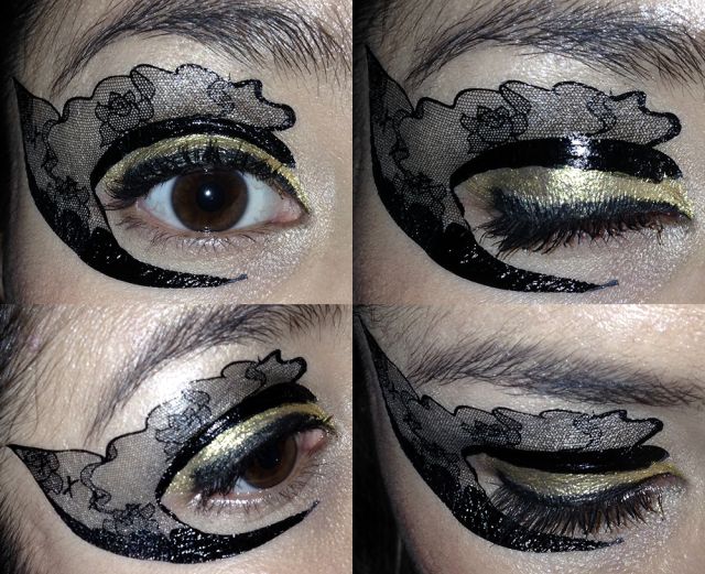 stargazer temporary eye tattoo lace and bows - somanylovelythings
