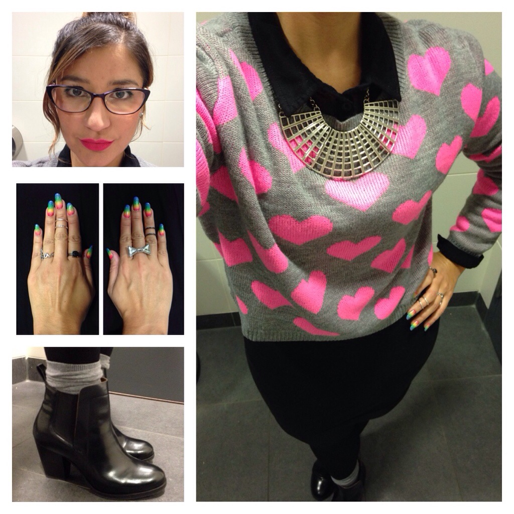 Grey And Pink Heart Jumper And