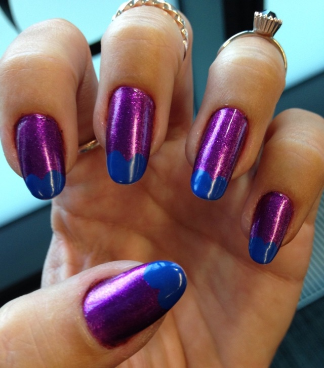 purple and blue nails -somanylovelythings