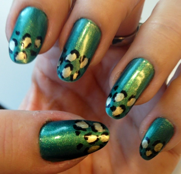 green leopard print nails jn beauty nail lacquer - somanylovelythings