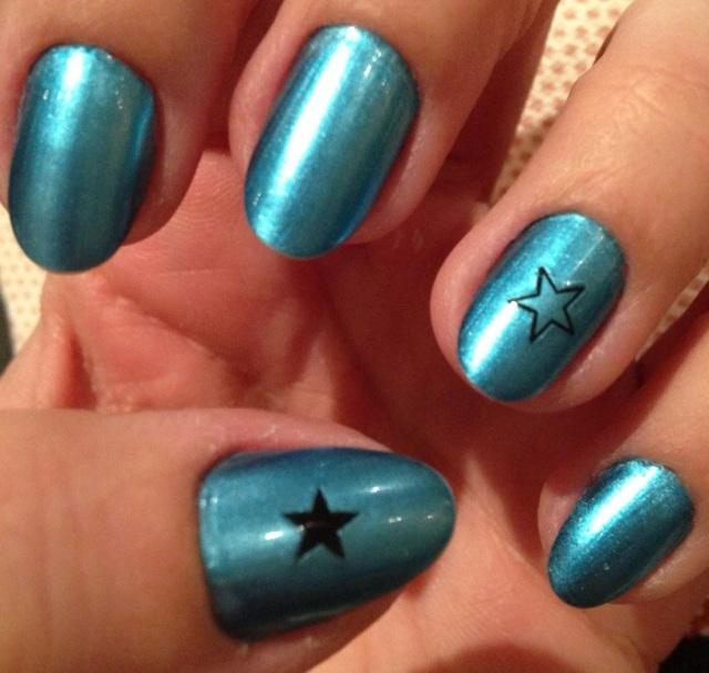 metallic blue nails - stargazer chrome