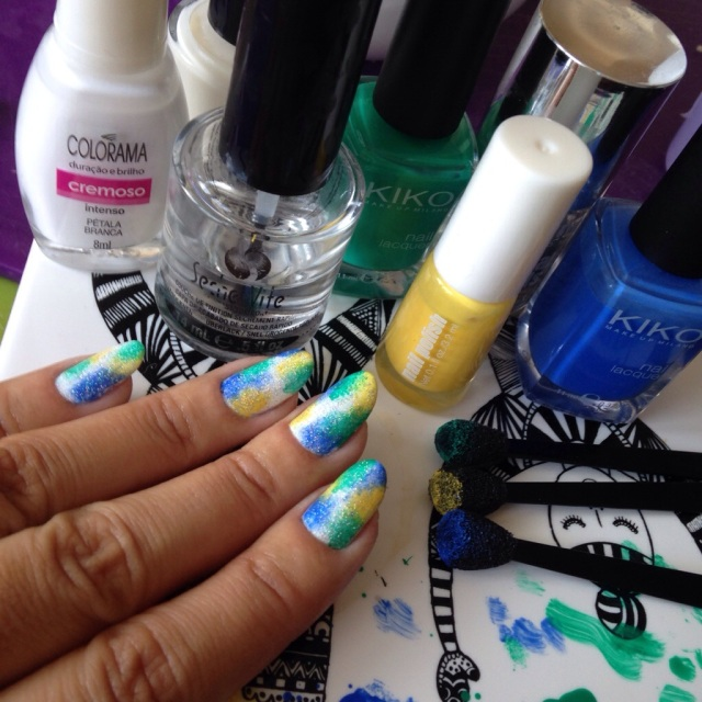 "Green, yellow, blue and white ""tie-dye"" effect nails - somanylovelythings"
