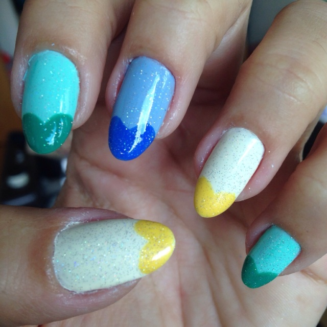 green, yellow and blue nails - somanylovelythings