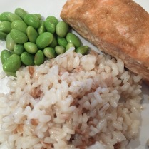 Three grain rice, salmon and edamame beans