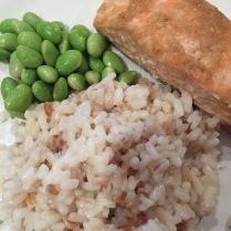 Three grain rice, salmon and edamame beans