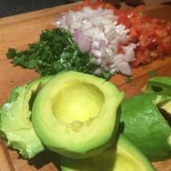 Chunky guacamole prep