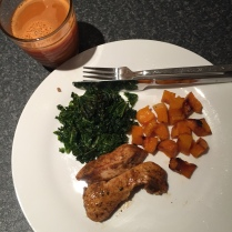 Chicken breast, butternut squash and kale