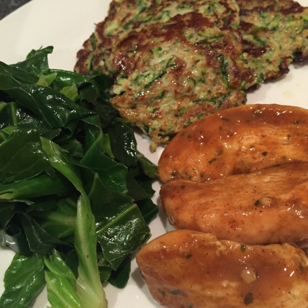 Chicken breast, courgette fritters, greens