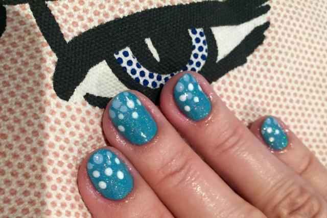 blue dotty nails with GOSH Sea Foam