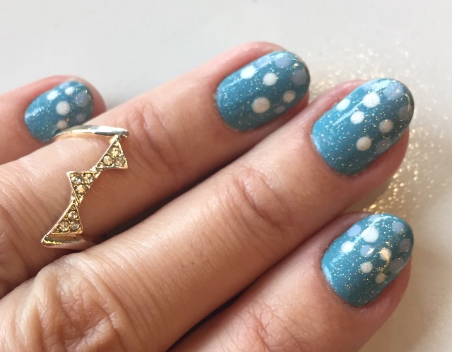 blue dotty nails with GOSH Sea Foam