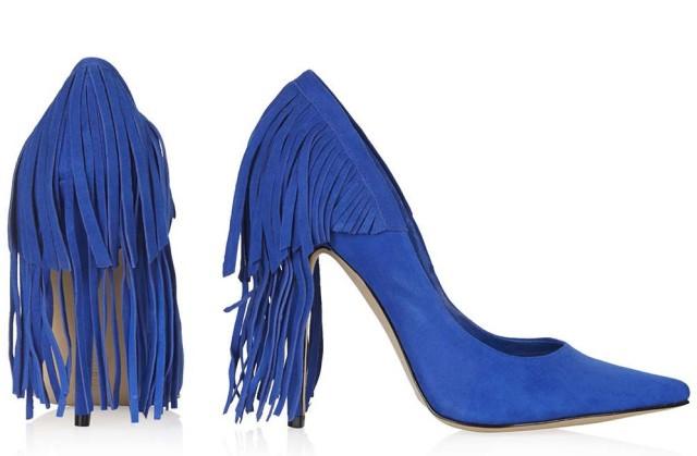 topshop GERI fringed shows - blue