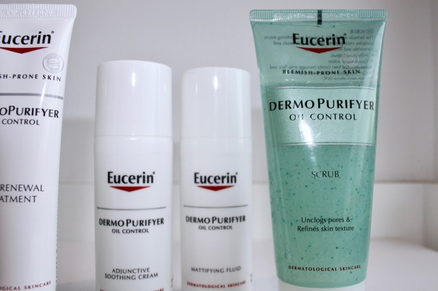 Eucerin DermoPurifyer Soothing Adjunctive Cream, Mattifying Lotion and Scrub