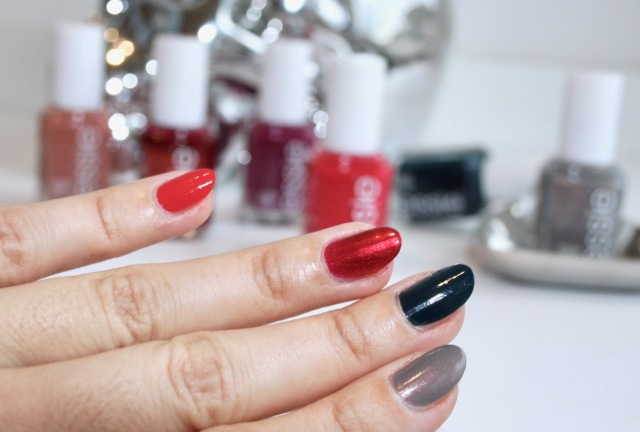 essie nail polishes in be cherry!, ring in the bling, on your mistletoes and social-lights